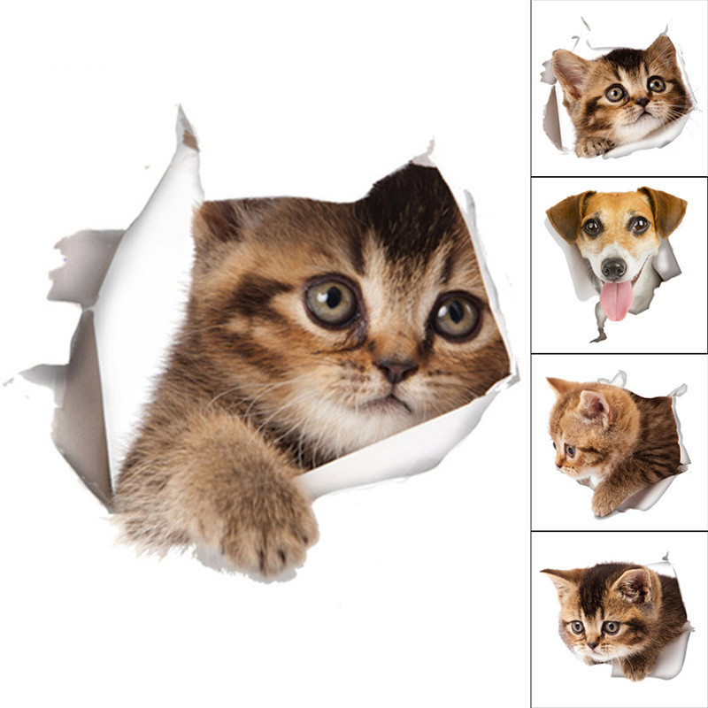 Cat Dog Toilet Stickers Refrigerator Stickers Hole View Lovely Cat Dog Wall Sticker Bathroom Room Decoration Animal Decals