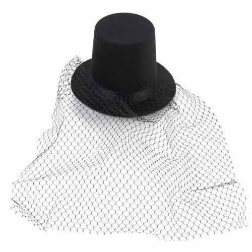 Black Mini Top Hat Veil Clips Party Lolita Cosplay Fancy Dress B8I4