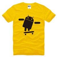 Cool FUNNY CUSTOM Skateboard Android Robot Printed Mens Men T Shirt T Shirt Fashion 2016 Short