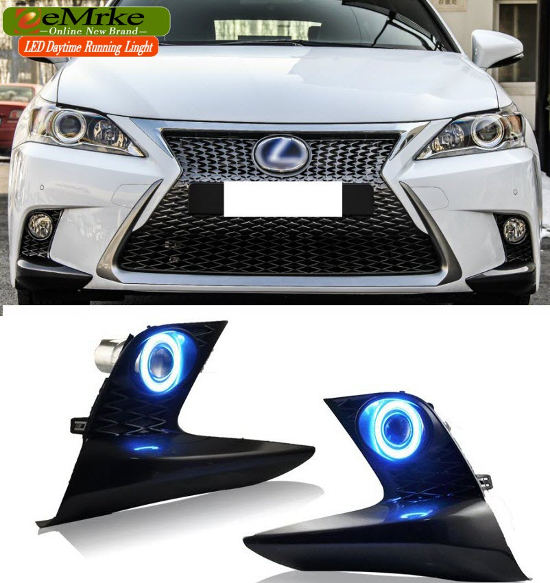 Car-styling LED Daytime Running Lights For Lexus CT220h F Sport 2014-2017 Fog Light COB Angel Eyes DRL Halogen Bulbs H11 55W eemrke cob angel eyes drl for lexus ct220h ct 200h f sport 30w bulbs led fog lights daytime running lights tagfahrlicht kits