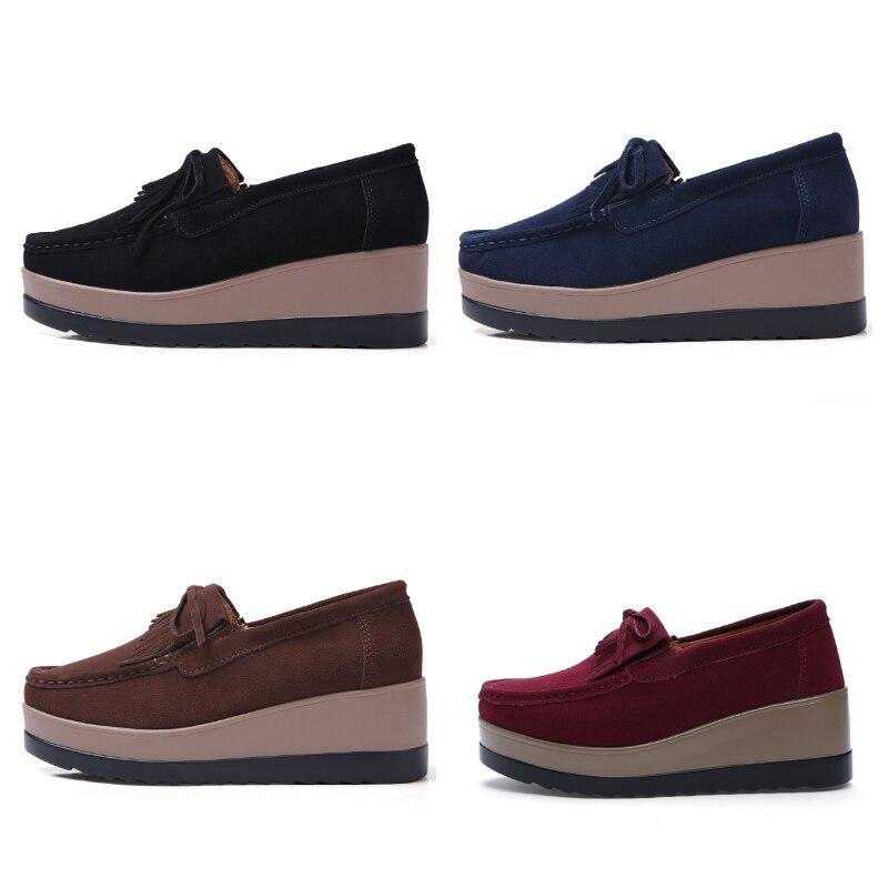Image 3 - STQ 2020 Autumn Women Flats Women Leather Suede Fringe Platform Sneakers Thick Heel Casual Boat Shoes Ladies Loafers Shoes 912ladies loafers shoesboat shoesboat shoes ladies -