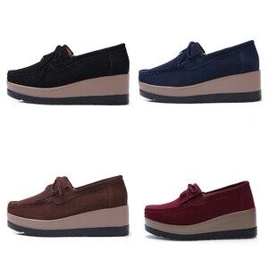 Image 3 - STQ 2020 sonbahar kadın Flats kadın deri süet saçak platformu Sneakers kalın topuk rahat tekne ayakkabı bayanlar loafer ayakkabılar 912