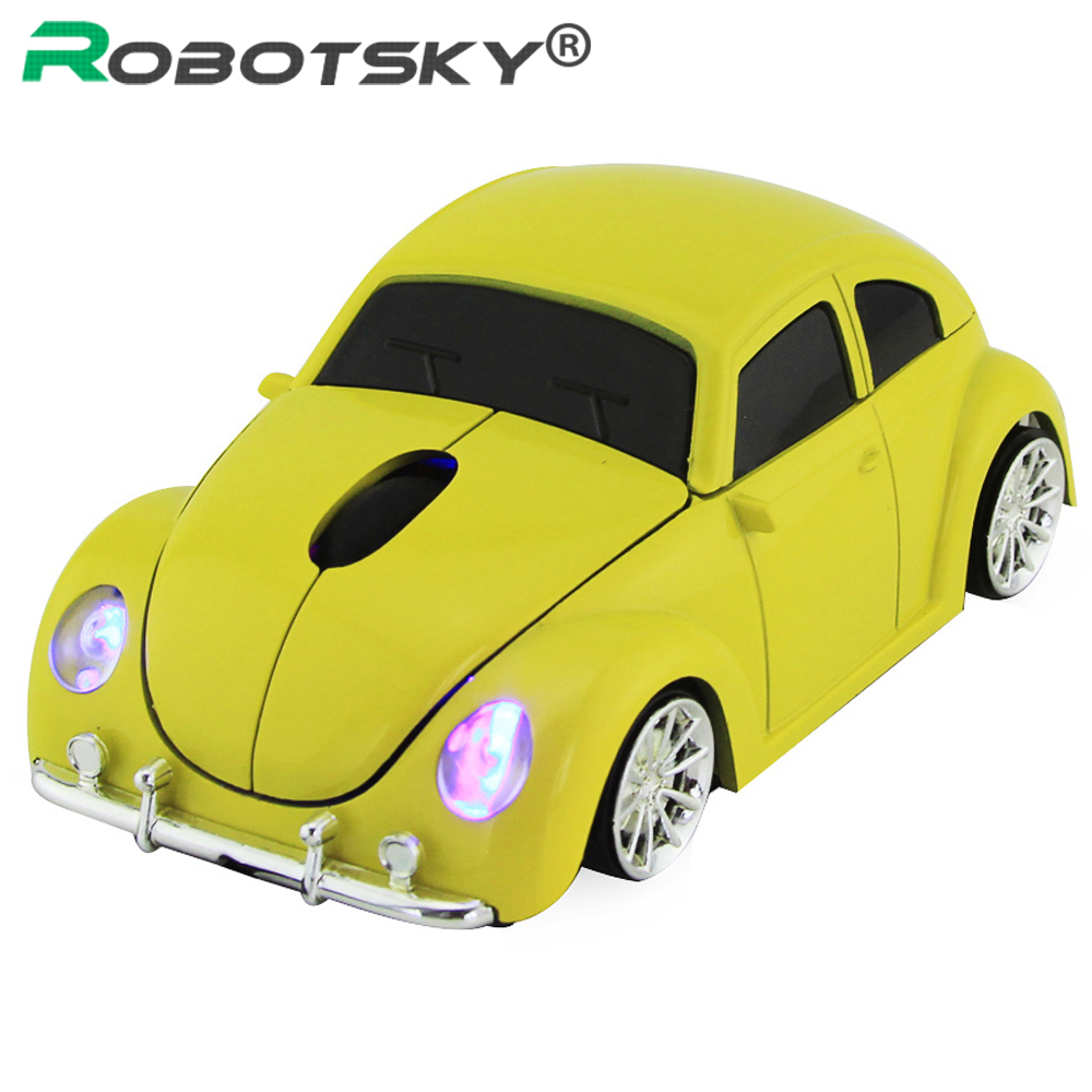 Wireless Computer Mouse Gamer Cool Beetle <font><b>Car</b></font> Shape Mice 1600DPI Optical Gaming Mause With USB Receiver For PC Laptop image