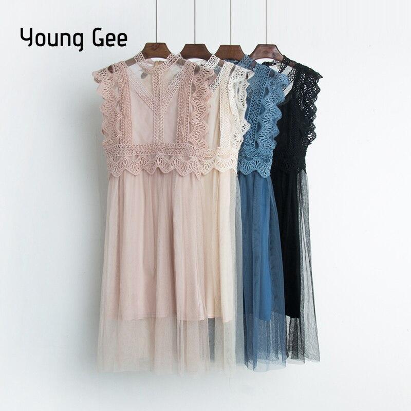 Young Gee Sexy Hollow Out Lace Dress Women Summer High Waist Sleeveless Sweet Mesh Dresses Elegant Knee-length Dress Vestidos