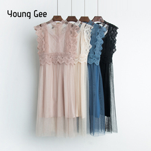 Young Gee Sexy Hollow Out Lace Dress Women Summer High Waist Sleeveless Sweet Mesh Dresses Elegant Knee-length Vestidos