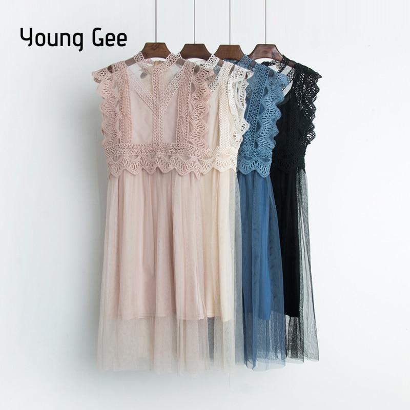 Young Gee Sexy Hollow Out Lace Dress Women Summer High Waist