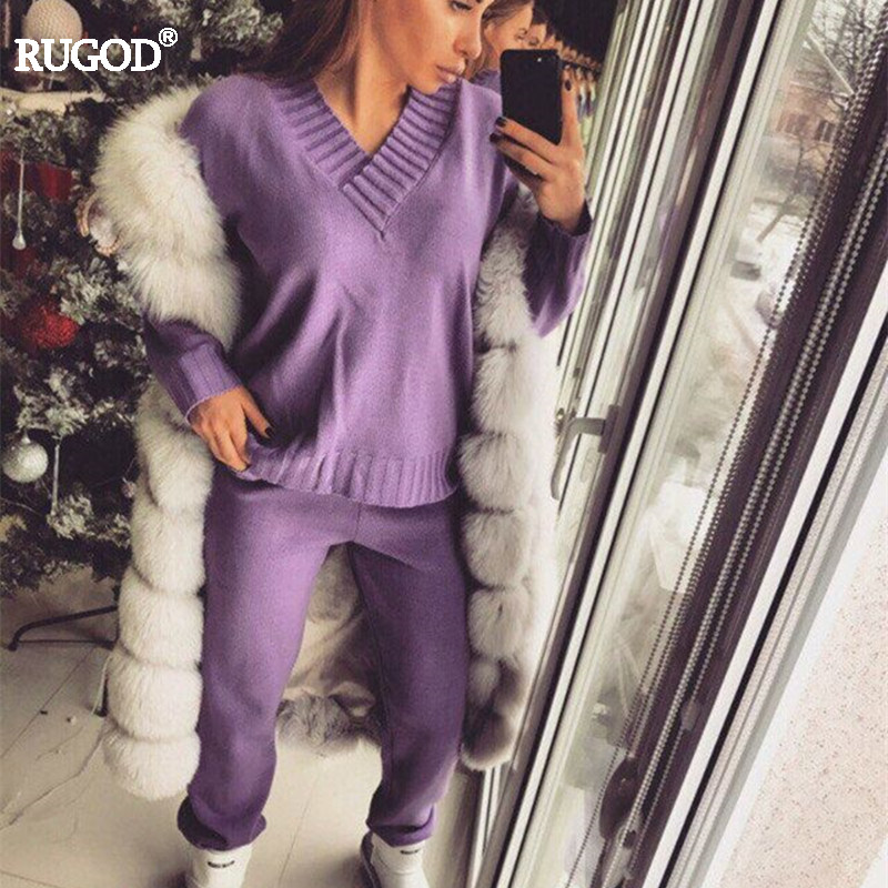 Rugod 2018 Women Suit Sexy V-neck Long Sleeve Pullover+pants Tracksuit 2 Two Piece Sets Women Solid Knitted Top and Pants Suits