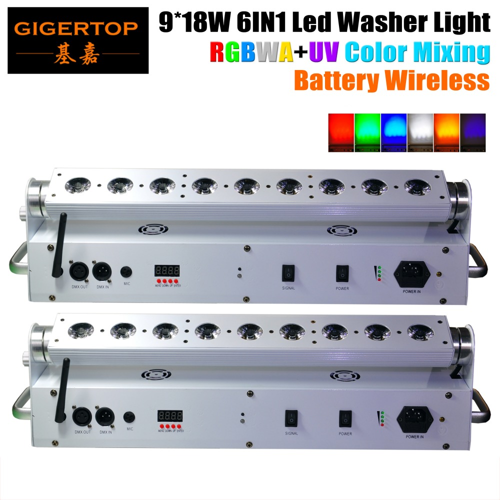 TIPTOP Vente Chaude 2XLOT 9 * 18W 6in1 RGBAW UV Alimenté par Batterie DMX512 LED Wall Washer Light, Wifi Stage Washer White Housing