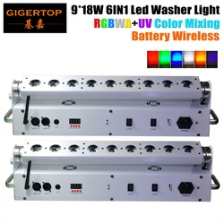 TIPTOP Hot Sale 2XLOT 9*18W 6in1 RGBAW UV Battery Powered Wireless DMX512 LED Wall Washer Light ,Wifi Stage Washer White Housing