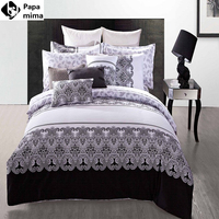 יוקרה שחורה ולבן שמיכת מיטת שמיכת מצעים סטי 4 יחידות 100% כותנה מכסה מצעי גודל מלא מלכת המלך גיליון