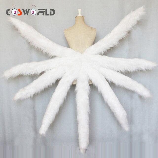 Coshome LOL Ahri Cosplay תלבושות סקסי זנבות שועל תשע זנב משודרג להפוך דגם בפלאש זנב 85CM