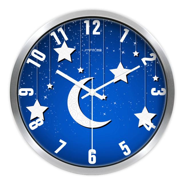 Blue Moon and Star Living Room Quiet Quartz Wall Clock Home Decoration Bedroom Fashion Creative Wall Clocks
