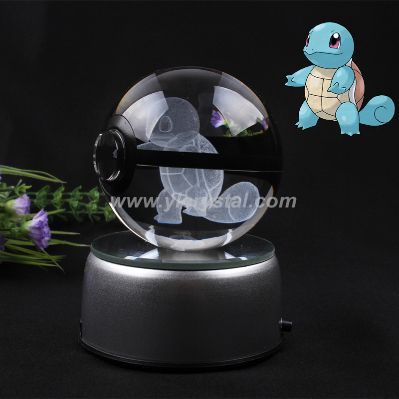New Style Free Shipping Good Quality Squirtle Pokemon Ball With Engraving Crystal Ball With Led base With Gift Box