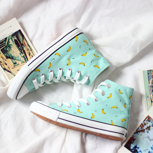 Free shipping 2015 new women shoes Mint green hand-painted shoes soft casual canvas  high-top women fashion Casual boots shoes