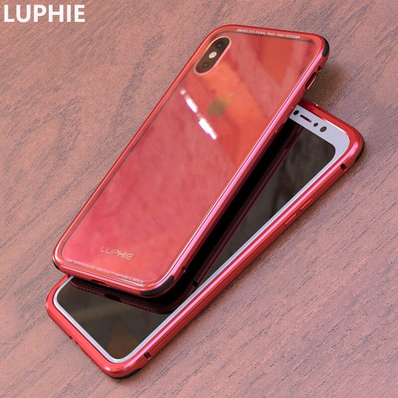 LUPHIE Per iPhone X Caso Della Copertura di Lusso Dura di Alluminio del Metallo cornice Trasparente Temperato Vetro Della Copertura Posteriore Cassa Del Telefono per iPhone 10