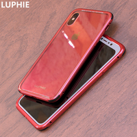 LUPHIE For IPhone X Case Cover Luxury Hard Metal Aluminum Frame Transparent Tempered Glass Back Cover
