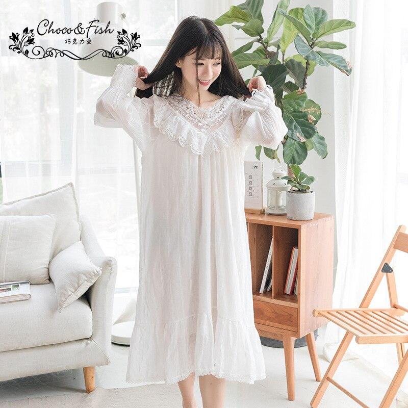Maternity Pijamas Sweet Autumn Palace Women Pajamas Lace V Collar Long Nightdress Luxury Clothing Nursing Nightwear YFQ175