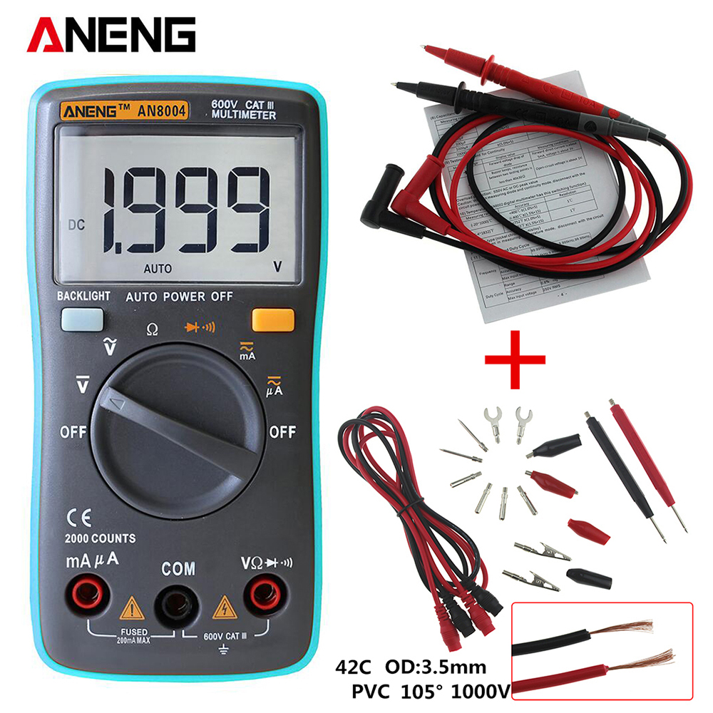 ANENG  AN8004 Digital Multimeter 2000 counts Backlight AC/DC Ammeter Voltmeter Ohm Portable Meter an8001 an8002 an8004 lcd digital multimeter 6000 counts with backlight ac dc ammeter voltmeter ohm portable meter
