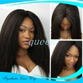 Free Shipping kinky straight synthetic hair lace front wigs coarse yaki heat resistant fiber lace front wigs 150% density