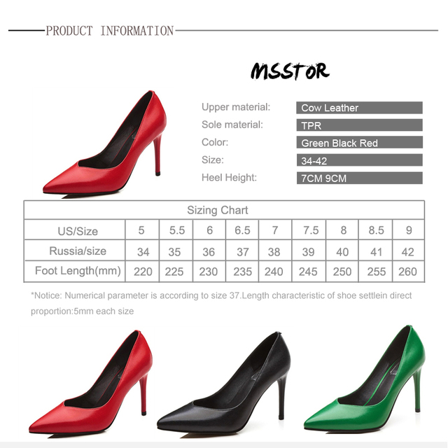 MSStor Concise Stiletto Pumps Plus Size 42 Fashion Elegant Genuine Leather Party Red Spring High Heels Pointed Toe Women Heels
