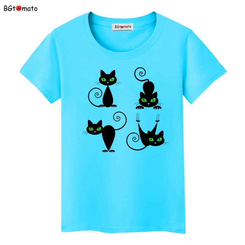 Bgtomato new four different positions black cat t shirt for Successful t shirt brands
