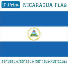 Free shipping 90*150cm/60*90cm/30*45cm/15*21cm  Nicaragua National Flag 3x5ft Hanging Flag with Brass Metal Holes