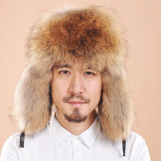 2016 Winter Warm Snow Retail Russian Hat men Warm Rex  Fox Fur Hat Leather Earflaps Hat