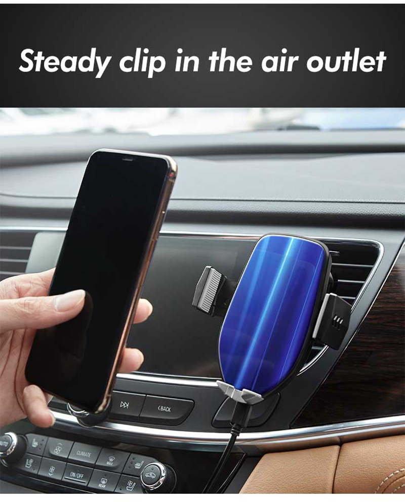 12Auto Clamp Car Wireless Charger Aurora Glass Charging Mount