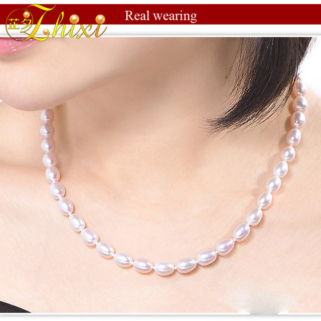 [zhixi]  Genuine white pearl jewelry,natural  freshwater pearl necklace pearl choker necklace  43cm   R7-6