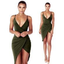 Women Strap Deep V-neck Sexy Party Dresse dress