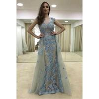 Vintage Arabic Lace Mermaid Evening Dresses Long 2019 robe de soiree Detachable Train Special Occasion Dress Formal Prom Gowns