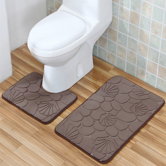 Bathroom Mat Set 2pcs Geometric Embossing Pattern Bathroom Rug Non