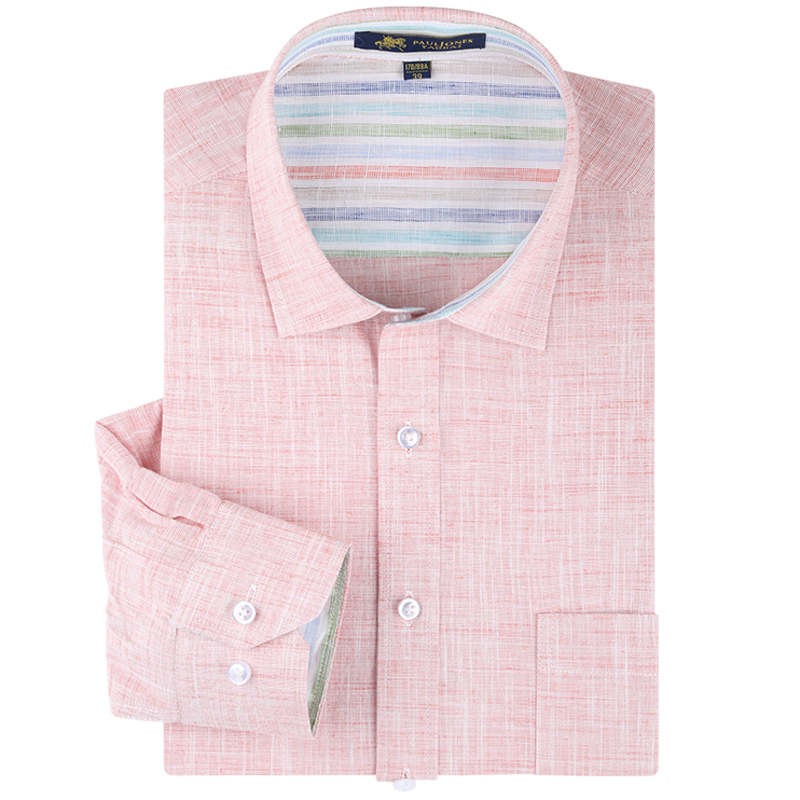 Men's Long Sleeve Solid Linen Dress Shirt Patch Left Chest Pocket Regular-fit Comfortable Male's Top Thin Smart Casual Shirts