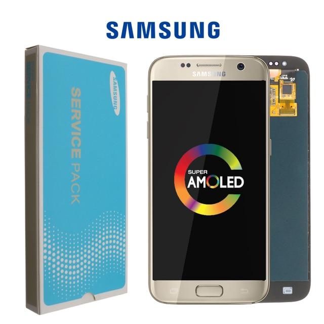 "Nuevo SUPER AMOLED 5,1 ""LCD con marco para SAMSUNG Galaxy S7 pantalla G930 G930F digitalizador de pantalla táctil + paquete de Servicio"