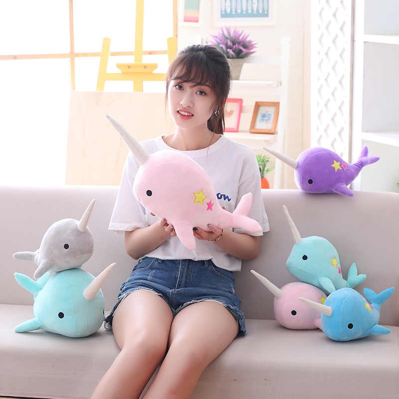25 cm/35 cm Sevimli Peluş Narwhal Oyuncaklar Doldurulmuş Hayvanlar Yumuşak Bebek mavi Balina peluş oyuncak Çocuk Bebek Doğum Günü Noel hediyeler Kızlar Oyuncaklar