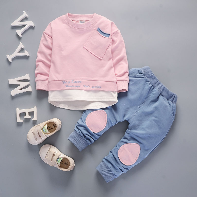 Toddler kids Clothes Outfit tops pants Casual Clothing children For 12 Months-6Years size adjustable цена