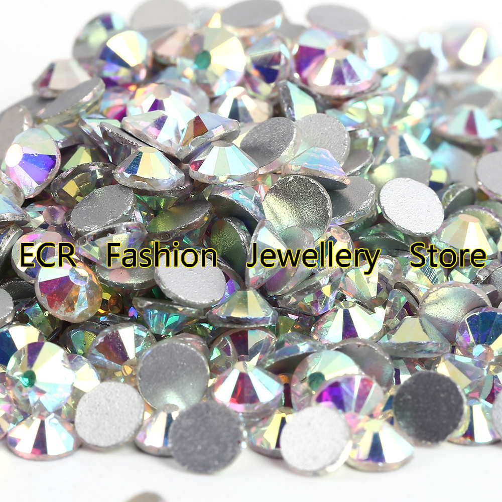 10Bags / Lot ~ !! Crystal Clear AB Flat Back Nail Art Ikke Hotfix Rhinestones.SS3 SS4 SS6 SS8 SS10 SS12 SS16 SS20 SS30 SS34 SS40