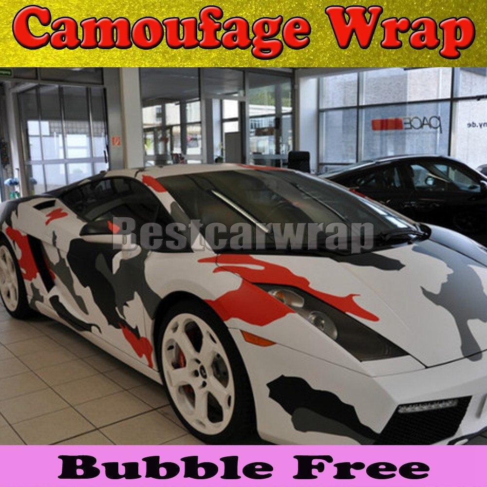 Red car sticker design - Red White Arctic Camo Vinyl Car Wrap Film With Air Rlease Gloss Matt Snow Camouflage