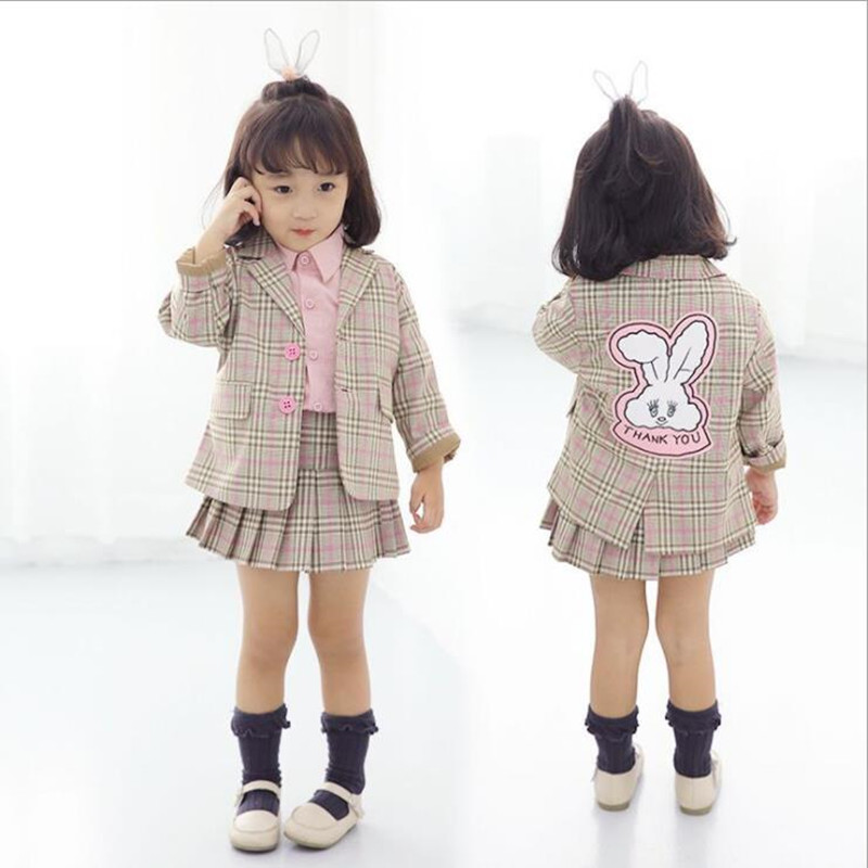 bdc092f70592 2018 Autumn Fashion Baby Girl Clothing Set 2pcs Cartoon Bunny Jacket+Skirt  Children Plaid Suit Blazer Kids Outfit Girls Clothing-in Clothing Sets from  ...