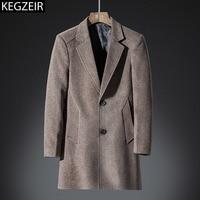 KEGZEIR Winter Fashion Long Wool Coat Men Jacket Warm Thick Slim Mens Pea Coat Business Casual Male Trench Coat Abrigo Hombre