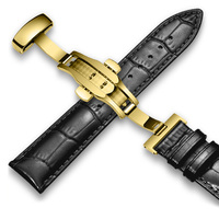 Leather Watchband Calfskin With Butterfly Buckle Bands Bracelet for Watch Strap sized in 14 16 18 19 20 21 22 mm