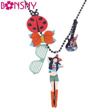 Bonsny Long Chain Handmade Girl Flower Umbrella Bow GuitarRosette Necklace Pendant Brand Design Fashion Jewelry For Women(China)