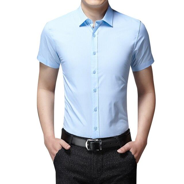 2fafc590f7b8 Verano Oficina Camisas manga corta blusa hombres clásico Casual Shirt Slim  Fit hombres moda Formal camisa