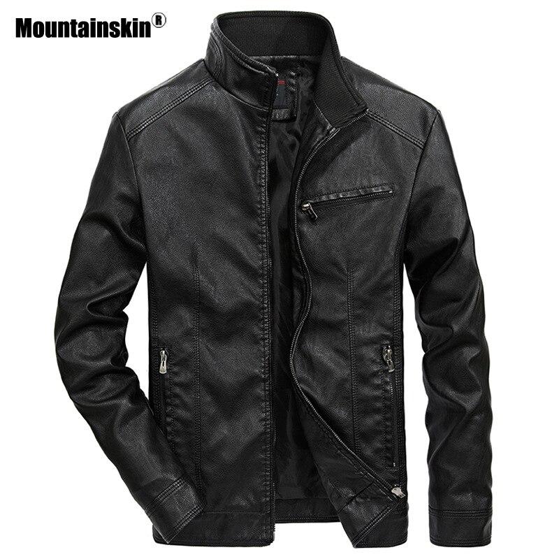 Mountainskin Vestes En Cuir homme Col montant PU Manteau Mâle Moto Veste En Cuir Décontracté Mince Hommes Marque Vêtements 5XL SA521