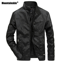 Mountainskin Men's Leather Jackets Stand Collar PU Coat Male Motorcycle Leather Jacket Casual Slim Mens Brand Clothing 5XL SA521