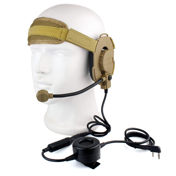 ФОТО 2 Pin Two-way Radio HD03 Z Tactical Bowman Elite II Headset with Waterproof PTT Right/Left Ear for Kenwood Military Brown C2052Y