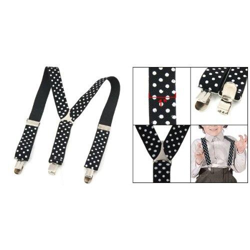 TKOH 2016 Hot Style WhiteDots Prints BlackElastic Webbing Y Back Suspender Pants Braces for Children