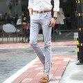 Nueva primavera verano pantalones de lino pantalones casuales hombres traje pantalones flacos delgados pantalones largos ocasionales rectos delgados chándal homme marca ropa