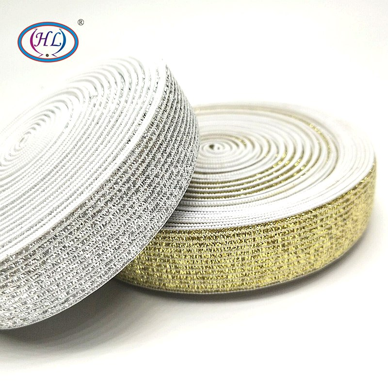 HL 20mm/25mm Width 2meters/package Gold/Silver High Quality Nylon Elastic Bands For Garment Trousers Sewing Accessories DIY