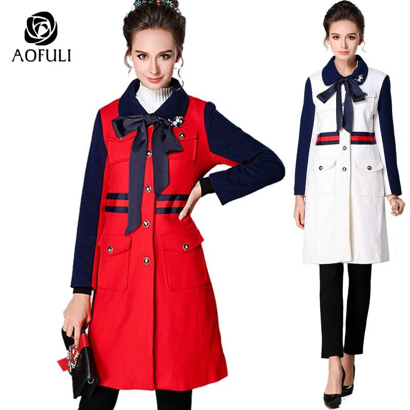 size-XL England Style Ladies X-Long Woolen Coat Autumn Winter Turndown Collar Single-Breasted Thick Warm Wool Overcoat 6088